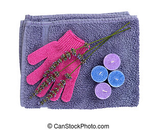 Lavender relaxation - flowers, candles, towel, isolated