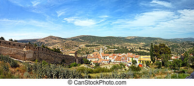 Morella in Spain. Landscape with  town and mountains.