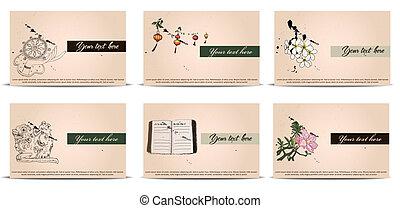 vintage business cards set.
