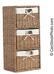 laundry basket made of rattan - Isolated on white laundry...