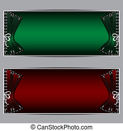 Corset banners - Green and red banners with corset and place...