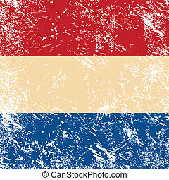 Holland retro flag - Dutch vintage flag - grunge style