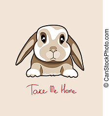 Baby rabbit, vector illustration
