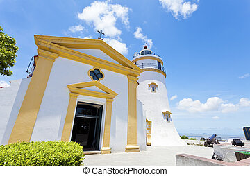 Guia Fortress lighthouse in Macau at day