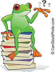 Book Frog - Green frog sitting on top of a stack of books