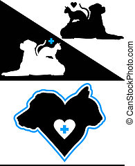 Dog and Cat Hearts - Dog and Cat Silhouette Design Elements