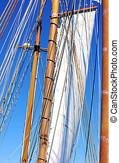 Old sailing ship masts and sails