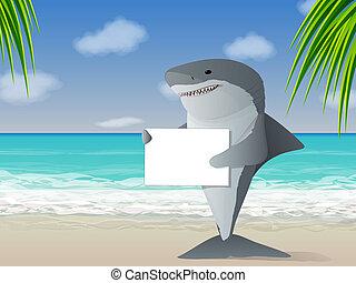 Shark Beach - Shark holding a sign at the beach