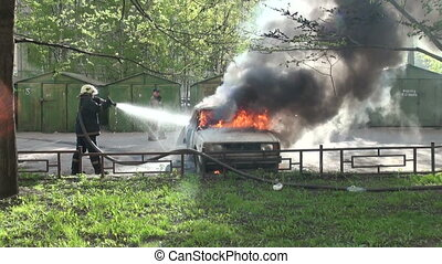 The burning car, extinguishing of burning car