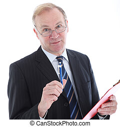 Businessman with pen emphasising a point - Businessman with...