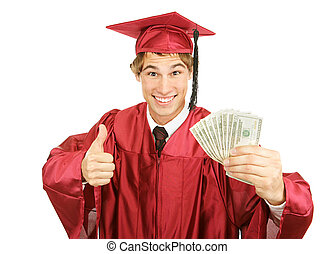 Cash for College - Excited graduate holding a fist full of...