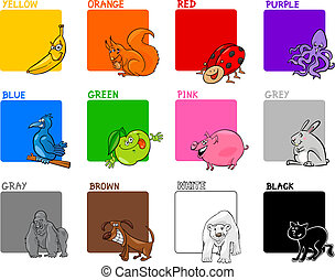 primary colors cartoon set - Cartoon Illustration of Primary...