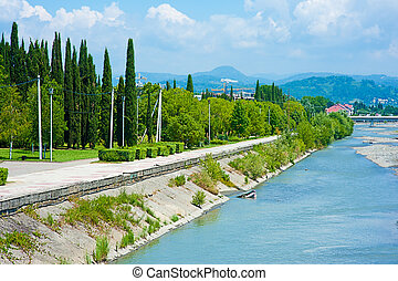 Embankment Mzymta river in Sochi - Beautiful scenery -...