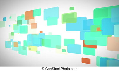 Blue and green rectangles moving - Background of blue and...