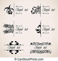 clásico, frontera, Ornamentos, vector, Conjunto