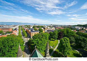 View of the city of Trondheim cathedral from above