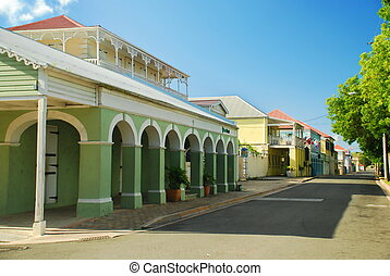Frederiksted, St. Croix, USVI - This main street running...