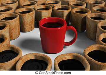 Red cup among dirty cups - 3d model rendering of red cup...