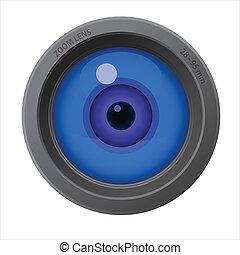 An eye inside of camera lens