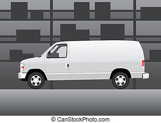 White delivery van inside of storehouse