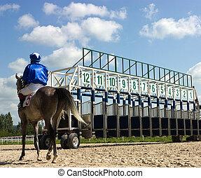 Início, cavalo, raças, portões