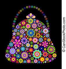 female bag - Illustration of female flower bag on black...