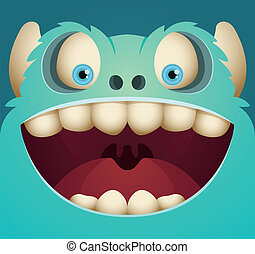 Happy Blue Monster - Cartoon Character