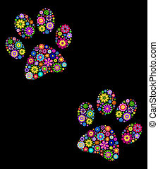 animal paw - Illustration of animal paw on black background