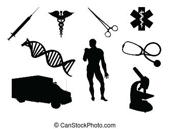Medical equipment and related signs silhouettes, isolated on white background.