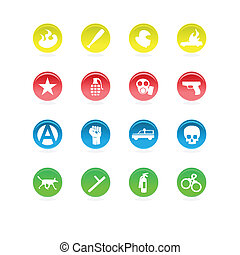 Protest icons color circles isolated on white background.