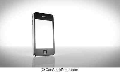Smartphone turning with a blank scr