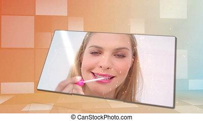 Beauty videos with an orange backgr