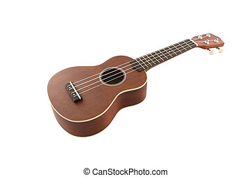 Small guitar (ukulele) from body on white background.