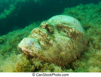 Bust of Lenin in underwater museum, Tarhankut Black sea.