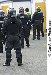 Uk Police Officers in Riot Gear - Uk police officers in full...