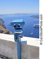 Binoculars in blue