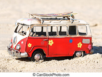 hippy bus - model of a vintage surfer bus on the beach...