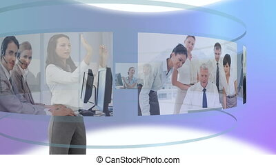 Video of woman moving video with he - Animation of woman...