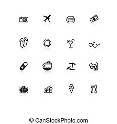 Travel icons black with reflections on white background.