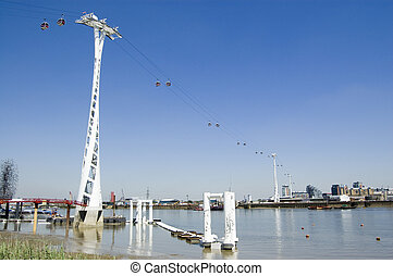 River Thames Cable Car, London - View of the new cable car...