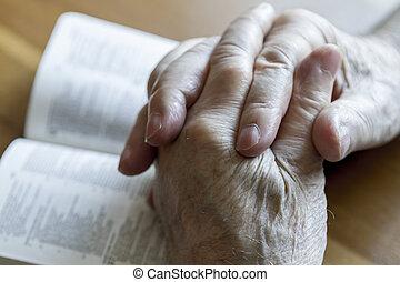 orando, antigas, mãos