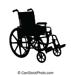 Wheelchair silhouette black on white background.