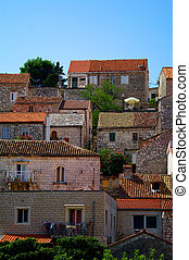 Old town Hvar Croatia - Old Stone house in Hvar on island...