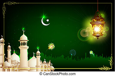 Eid Mubarak - illustration of Eid Mubarak greeting with...