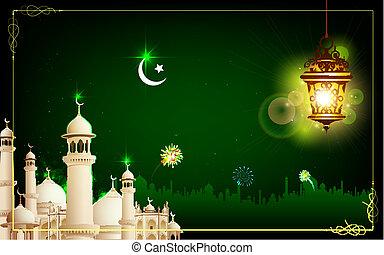 Eid Mubarak - illustration of Eid Mubarak greeting with...