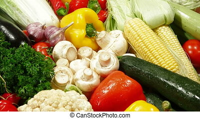 DOLLY: Vegetables Background - Colorful mixed vegetable...