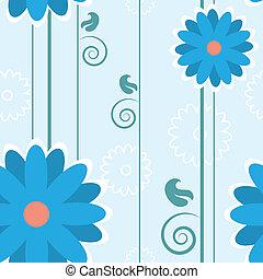 Blue Flower Pattern Lines