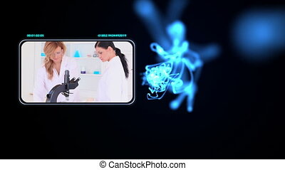 Young woman doing chemistry - Animation with young woman...