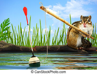 angler concept - Funny Little chipmunk fishing with...