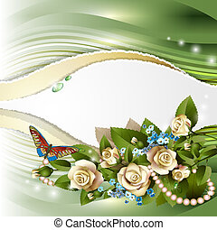 Background with white roses - Elegant background with...